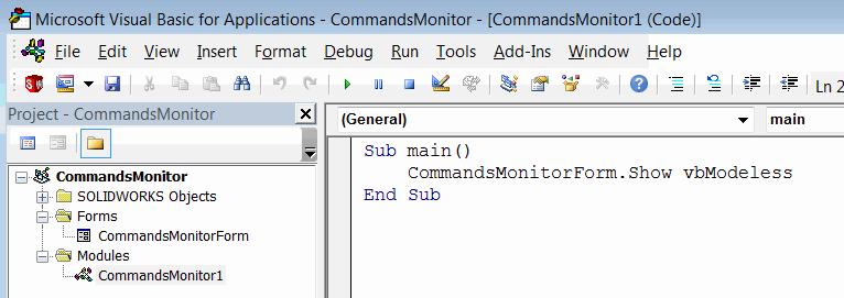 VBA macro to capture SOLIDWORKS commands via API event handlers