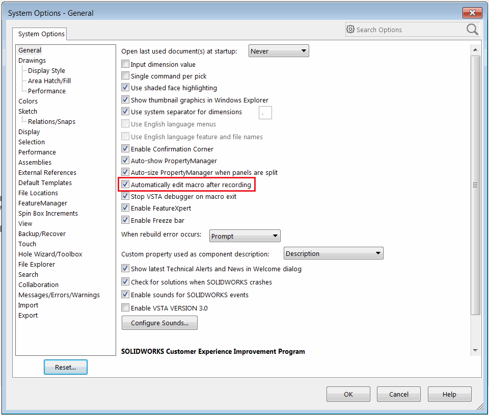 Recording and editing macros in SOLIDWORKS
