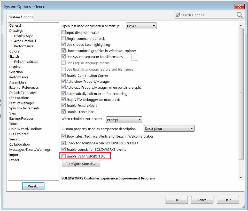 SOLIDWORKS Macro types - VBA (swp), SWBasic (swb), VSTA (dll)